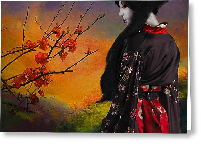 Quince Greeting Cards - Geisha with Quince Greeting Card by Jeff Burgess