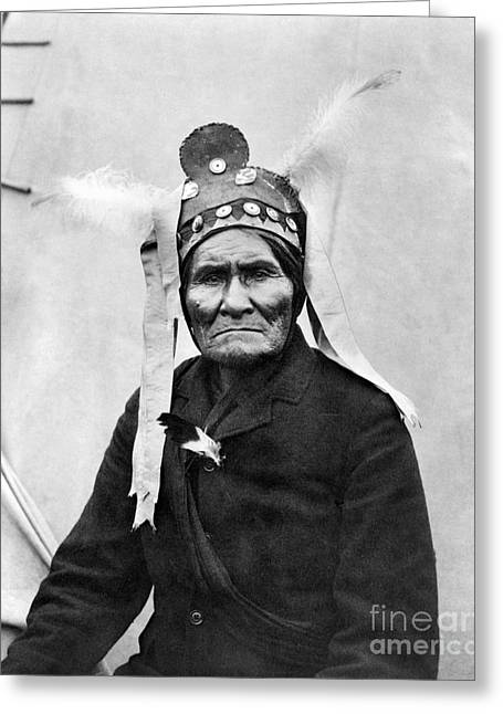 Native American Leaders Photographs Greeting Cards - Geronimo (1829-1909) Greeting Card by Granger