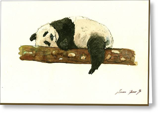 Kid Paintings Greeting Cards - Giant panda Greeting Card by Juan Bosco