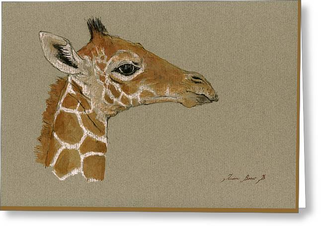 Safari Prints Greeting Cards - Giraffe head study  Greeting Card by Juan  Bosco