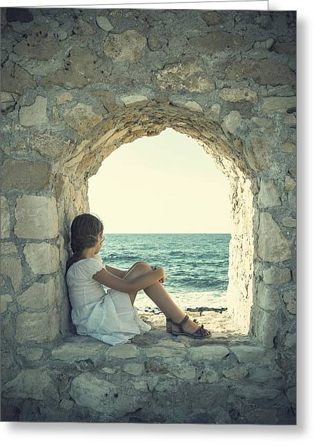 Sea Wall Greeting Cards - Girl At The Sea Greeting Card by Joana Kruse