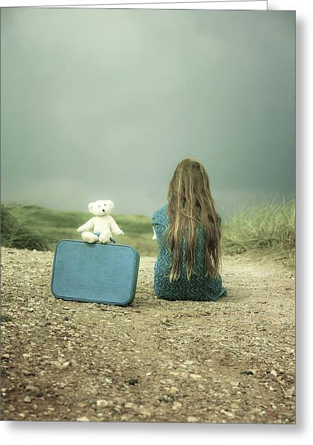 Travelling Greeting Cards - Girl In The Dunes Greeting Card by Joana Kruse