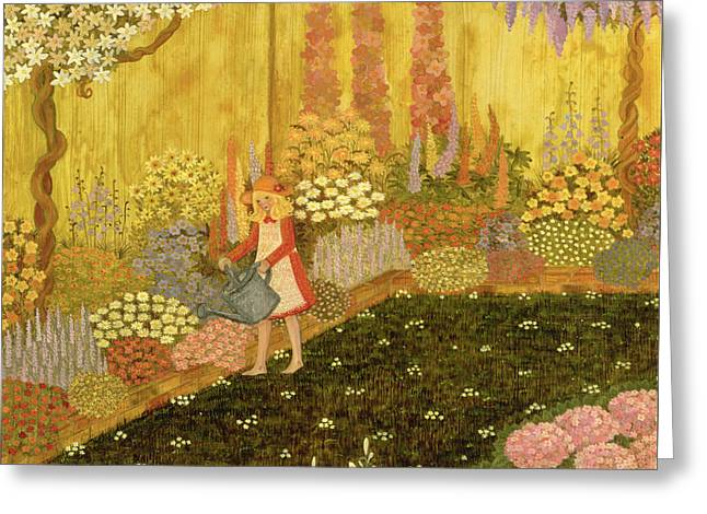 Girl In The Garden Greeting Card by Ditz
