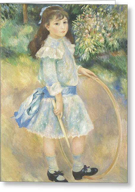 Portrait With Dress Greeting Cards - Girl with a Hoop Greeting Card by Pierre Auguste Renoir