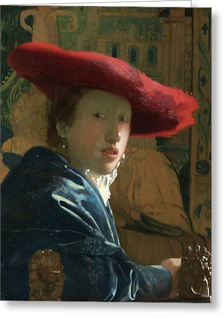 Outfit Paintings Greeting Cards - Girl With The Red Hat Greeting Card by Johannes Vermeer