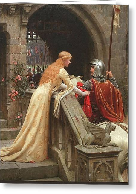 Idealized Greeting Cards - God Speed  Greeting Card by Edmund Blair Leighton