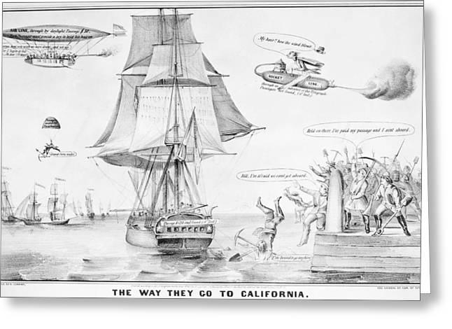 Gold Rush Cartoon, 1849 Greeting Card by Granger