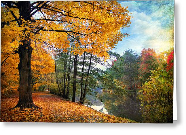 Country Lanes Digital Greeting Cards - Golden Carpet Greeting Card by Jessica Jenney