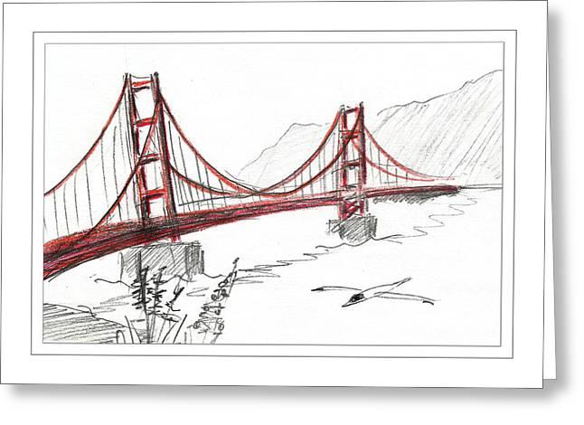 Bay Bridge Drawings Greeting Cards - Golden Gate Bridge Greeting Card by Masha Batkova