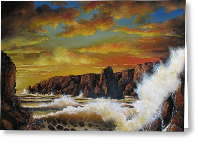 Sunset Seascape Reliefs Greeting Cards - Golden Yellow Sunset Greeting Card by John Cocoris