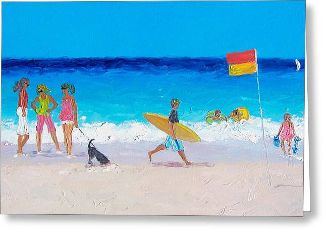 Children At Beach Greeting Cards - Gossiping Greeting Card by Jan Matson
