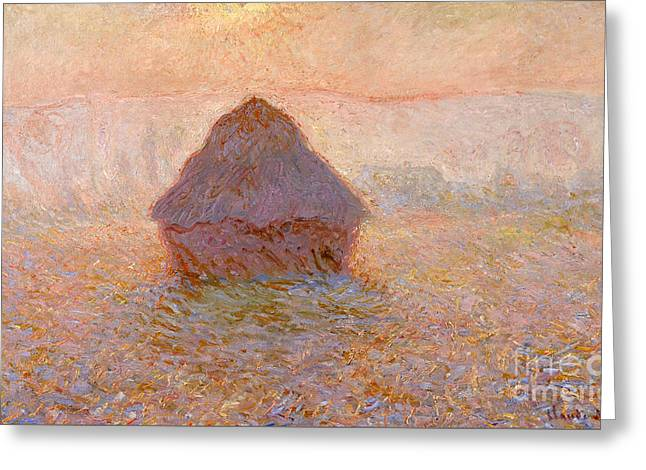 Vintage Painter Greeting Cards - Grainstack - Sun in the Mist Greeting Card by Claude Monet