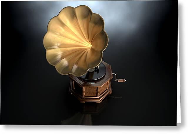Listen Greeting Cards - Gramophone Dark Background Greeting Card by Allan Swart