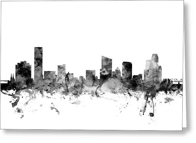 Rapids Greeting Cards - Grand Rapids Michigan Skyline Greeting Card by Michael Tompsett