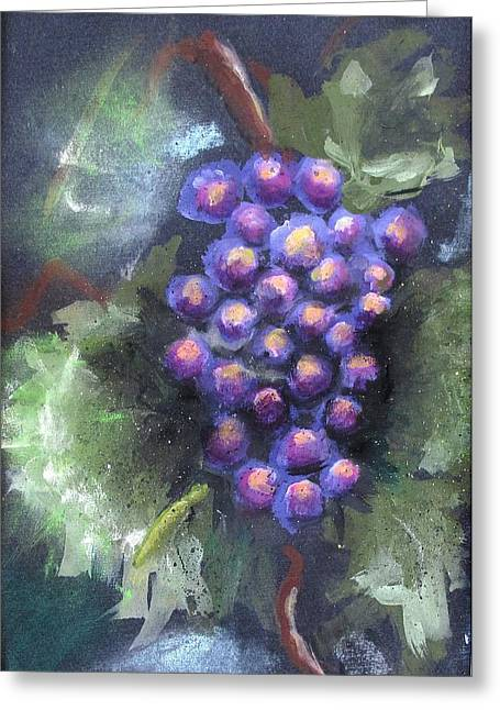 Grape Pastels Greeting Cards - Grapes Greeting Card by Thomas Armstrong
