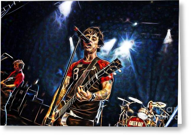 Green Day Billie Joe Armstrong Greeting Card by Marvin Blaine
