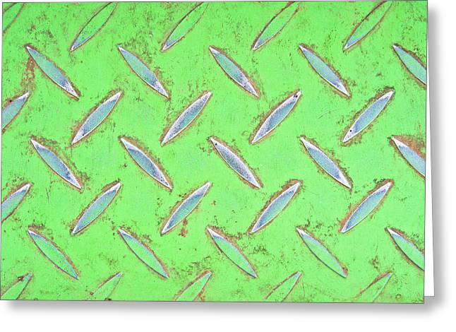 Consumption Greeting Cards - Green metal Greeting Card by Tom Gowanlock