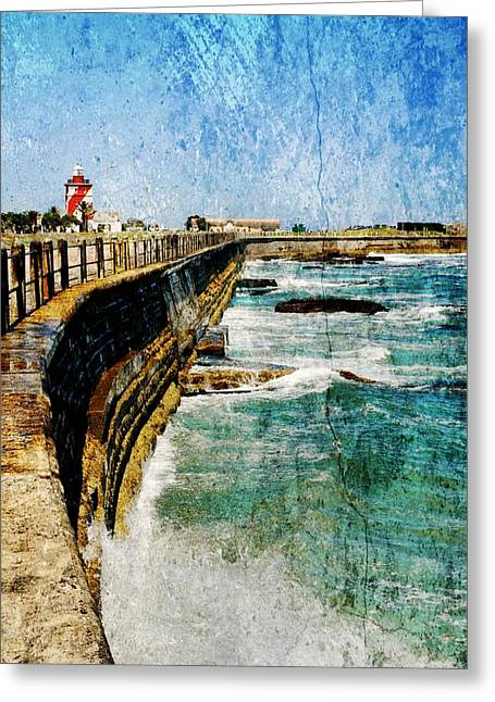 Blue Green Wave Greeting Cards - Green Point Greeting Card by Werner Lehmann