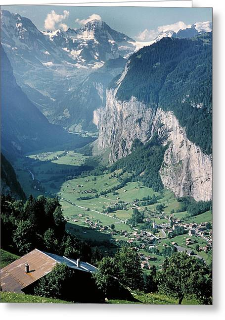 Swiss Photographs Greeting Cards - Climbing the Jungfrau Greeting Card by Carl Purcell