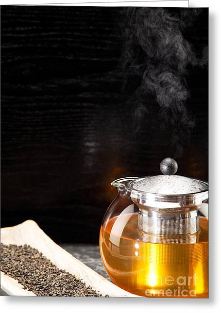 Gunpowder Green Tea In Glass Teapot Greeting Card by Wolfgang Steiner