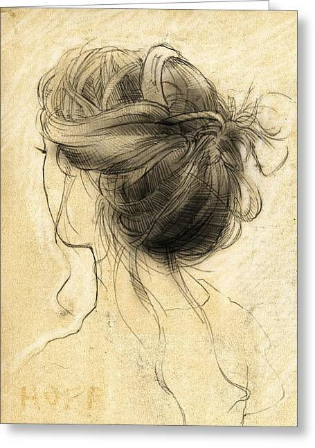Loose Hair Greeting Cards - Hair Study Greeting Card by H James Hoff