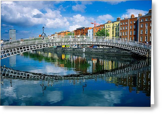 Reflections In River Greeting Cards - Hapenny Bridge, River Liffey, Dublin Greeting Card by The Irish Image Collection