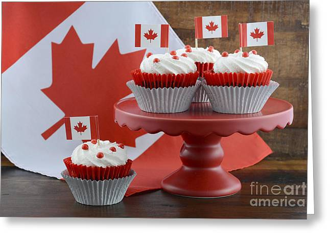 Tabletop Greeting Cards - Happy Canada Day Cupcakes Greeting Card by Milleflore Images