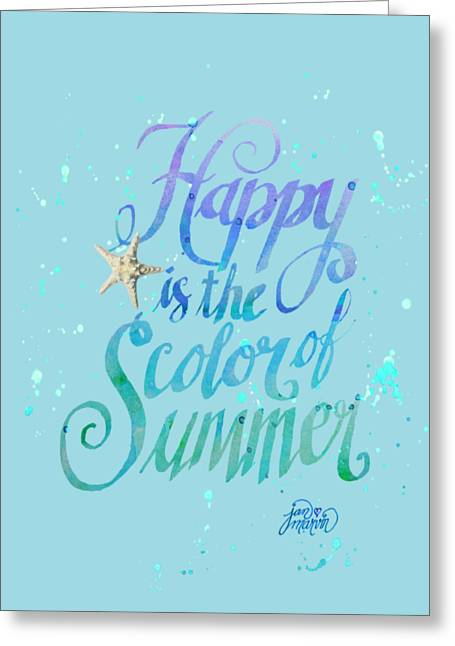 Sun Of Beach Drawings Greeting Cards - Happy is the Color of Summer  by Jan Marvin Greeting Card by Jan Marvin
