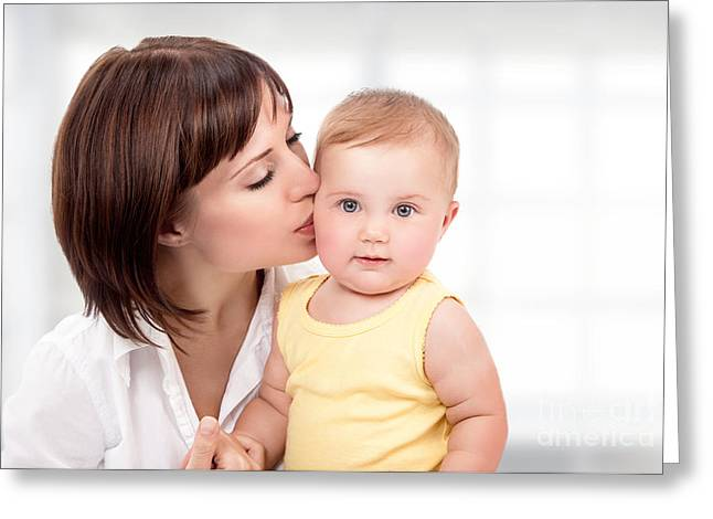 Caring Mother Greeting Cards - Happy mother with little baby Greeting Card by Anna Omelchenko