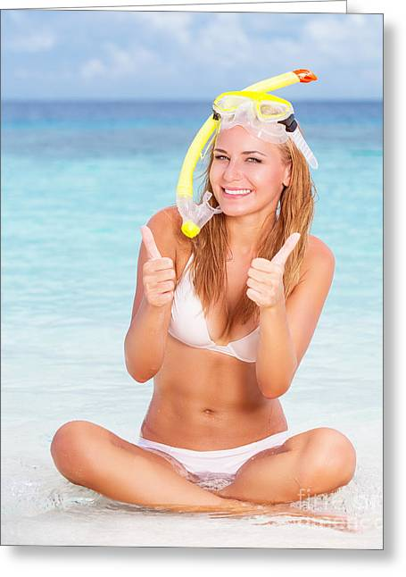 Snorkel Greeting Cards - Happy woman on the beach Greeting Card by Anna Omelchenko
