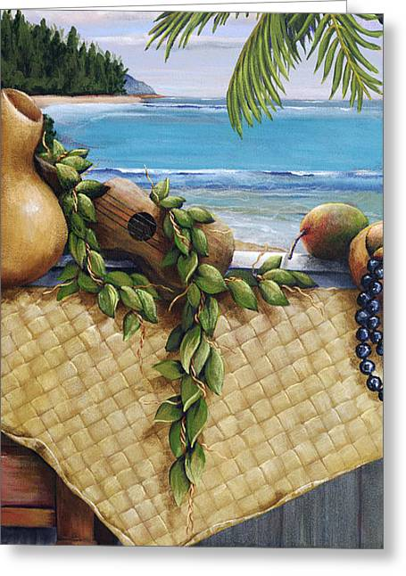 Island Cultural Art Greeting Cards - Hawaiian Still Life Panel Greeting Card by Sandra Blazel - Printscapes
