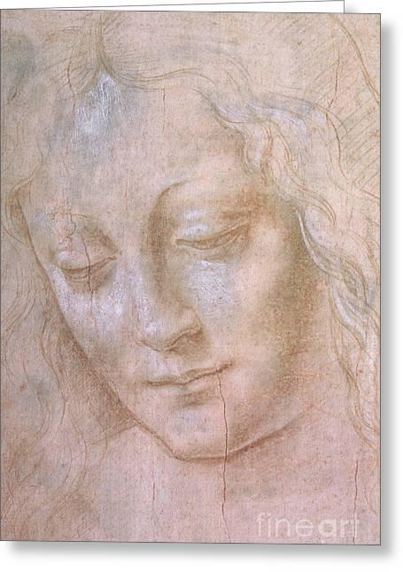 Head Of A Woman  Greeting Card by Leonardo da Vinci