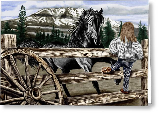 Wagon Wheels Drawings Greeting Cards - Hello Girl Greeting Card by Peter Piatt