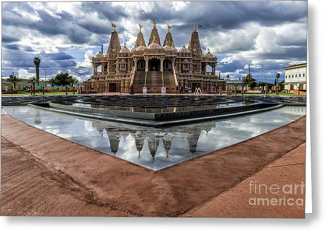 Hindu Goddess Greeting Cards - Hindu Temple BAPS Shri Swaminarayan Mandir Greeting Card by Peter Dang