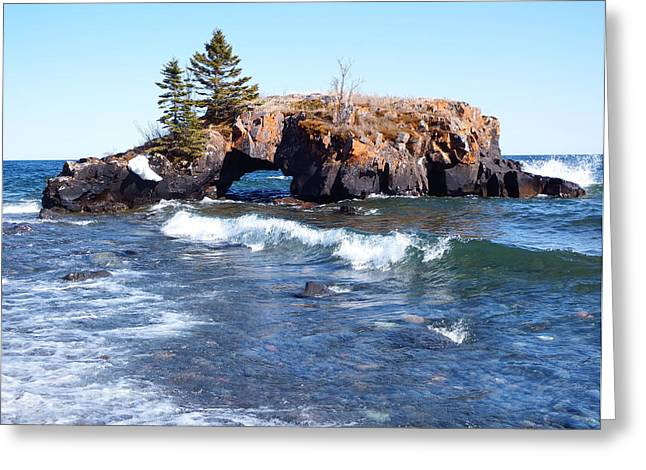 Portage Greeting Cards - Hollow Rock Greeting Card by Alison Gimpel