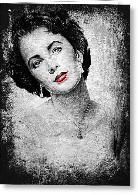 Liz Taylor Greeting Cards - Hollywood greats Elizabeth Taylor Greeting Card by Andrew Read