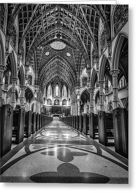 Gothic Crucifix Greeting Cards - Holy Name Cathedral Greeting Card by Mike Burgquist