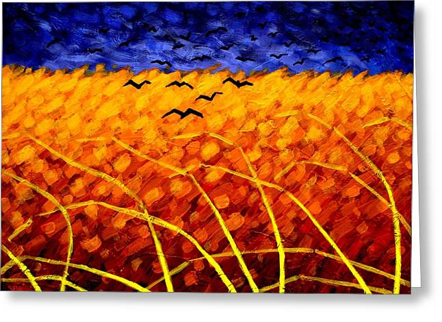 Canvas Crows Greeting Cards - Homage To Van Gogh Greeting Card by John  Nolan