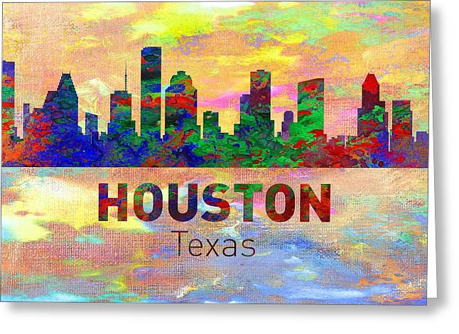 Seattle Skyline Greeting Cards Greeting Cards - Houston Skyline - Usa City Greeting Card by Michael Vicin
