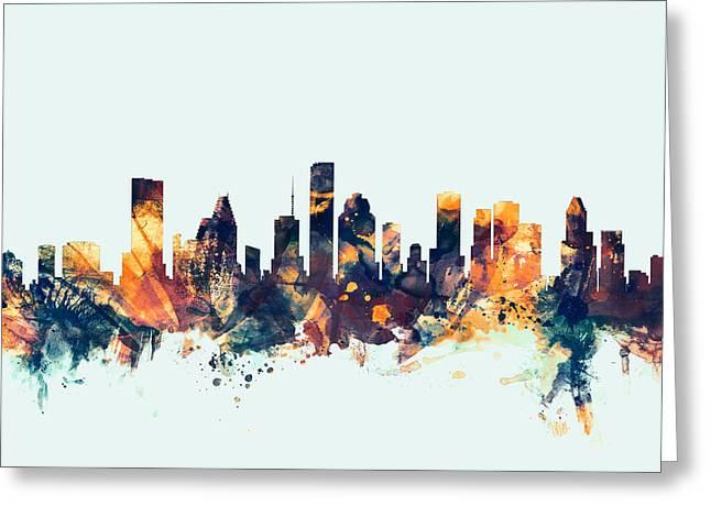 Usa Digital Art Greeting Cards - Houston Texas Skyline Greeting Card by Michael Tompsett