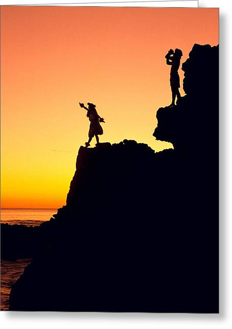 Island Cultural Art Greeting Cards - Hula Silhouette Greeting Card by William Waterfall - Printscapes