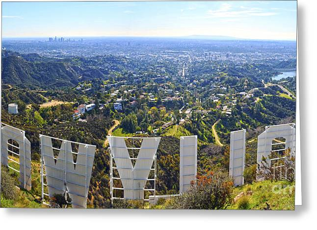 Ocean Panorama Greeting Cards - Iconic Hollywood  Greeting Card by Art K