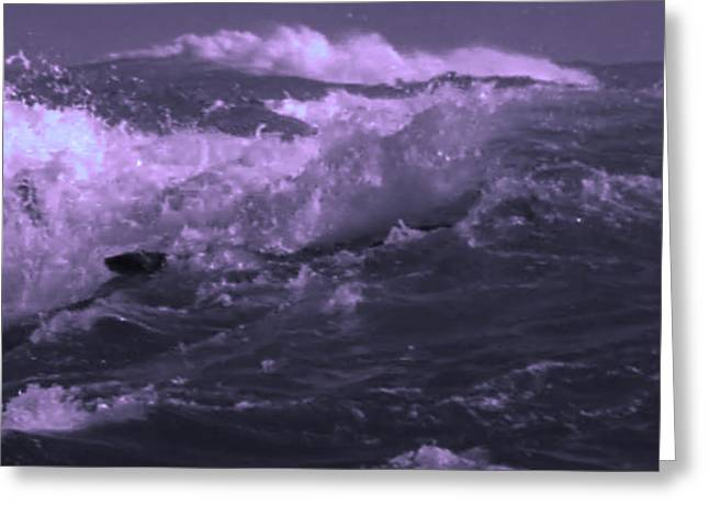 Ocean Art Photography Greeting Cards - 2 Ideal Surf Waves photography and digital transformation Greeting Card by Navin Joshi