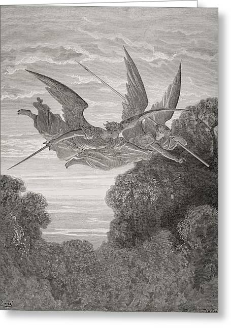 Guardian Angel Drawings Greeting Cards - Illustration By Gustave Dore 1832-1883 Greeting Card by Ken Welsh