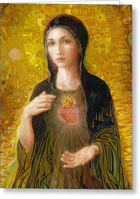 Jesus Christ Paintings Greeting Cards - Immaculate Heart of Mary Greeting Card by Smith Catholic Art