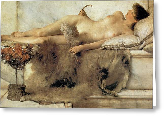 Old Masters Greeting Cards - In the Tepidarium Greeting Card by Sir Lawrence Alma Tadema