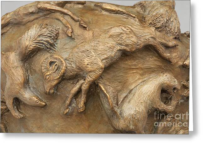 Bronze Reliefs Greeting Cards - In the Wild - Detail Greeting Card by Dawn Senior-Trask