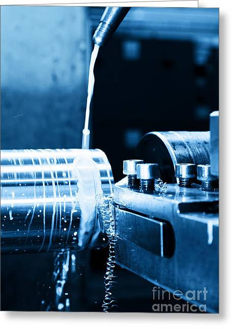 Cnc Greeting Cards - Industrial turning machine at work close-up Greeting Card by Michal Bednarek
