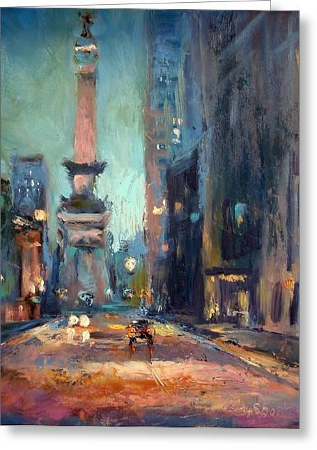 Donna Shortt Greeting Cards - Indy Circle Monument Greeting Card by Donna Shortt
