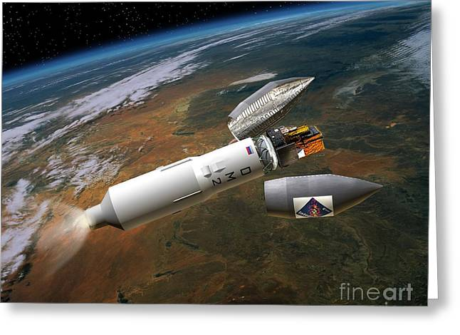 Gamma Ray Burst Greeting Cards - Integral Satellite Launch, Artwork Greeting Card by David Ducros